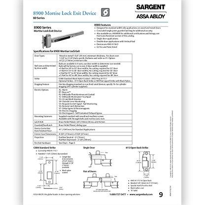 Sargent 8900 Series
