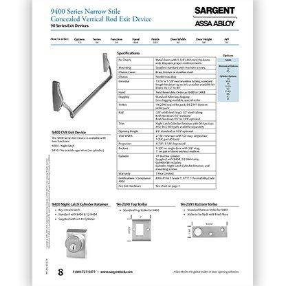 Sargent 9400 Series Narrow Stile Concealed Vertical Rod