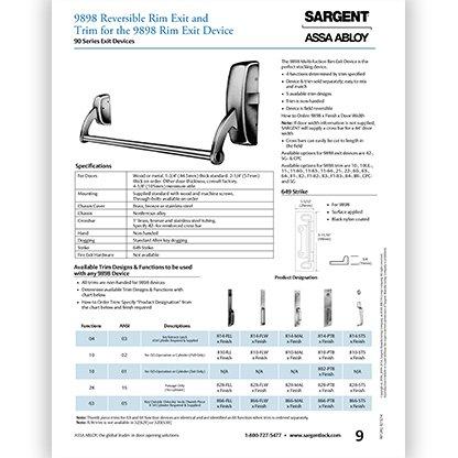 Sargent 9898 Reversible Rim