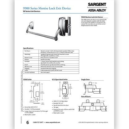 Sargent 9900 Mortise Lock