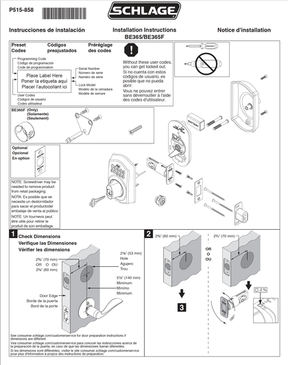 Penner Doors Schlage Be Series Electronic Deadbolts