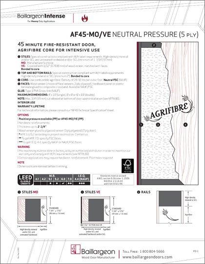 45 Min Fire-Resistant Agrifibre Core