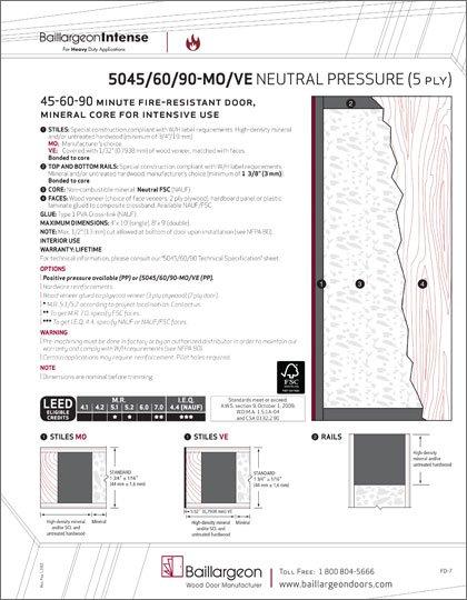 45-60-90 Min Fire-Resistant Agrifibre Core