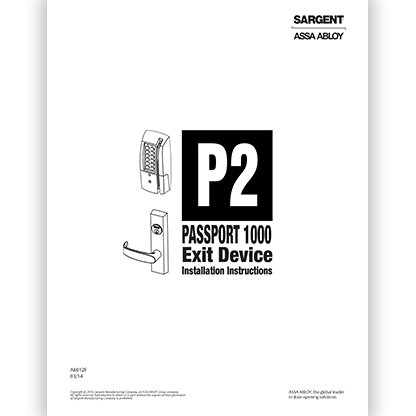 Sargent Passport 1000 Exit Device